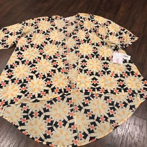 NWT NEW Lularoe Shirley yellow patterned kimono